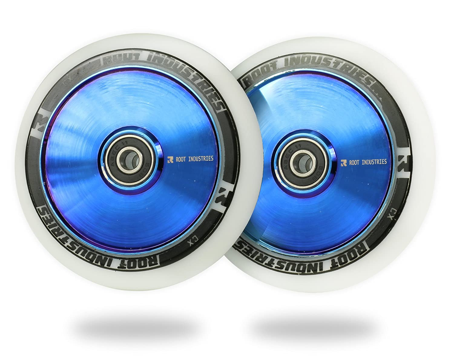 Bearings Installed Pair 24mm x 110mm Kick Push Scooter Tires Fit Most Setups Pro 110mm Freestyle Urethane Root Industries 110mm AIR Stunt Trick Scooter Wheels -Smooth Fast Hollowcore