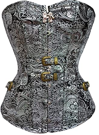 84bd3a50f8 BUYIIT Women s Gothic Steampunk Overbust Corset Lace Up Silver Brocade  Bustier Waist Cincher  Amazon.co.uk  Clothing