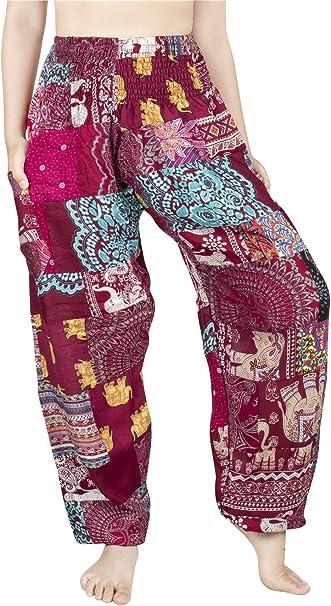 LOFBAZ Harem Pants for Women Patchwork Yoga Boho Palazzo Maternity PJ Clothing