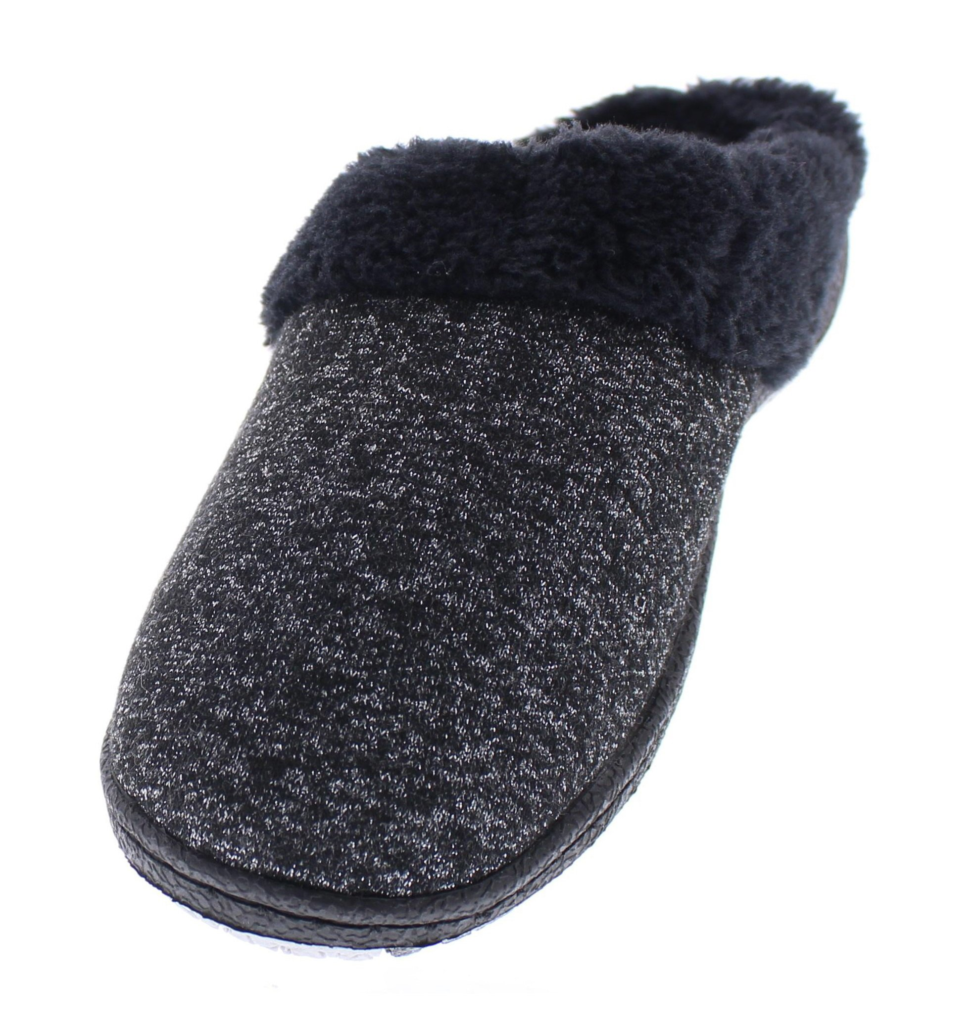Gold Toe Women's Nishti Heather Knit Metallic Sparkle Fur Lined Clog House Slipper Black L 9 US