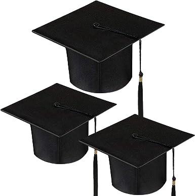 Hicarer 12 Pack Mini Graduation Caps Graduation Cap Bottle Toppers Bachelor Graduation Hat-Shaped Party Decorations Black Red