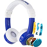 BuddyPhones InFlight Blue, Volume-Limiting Kids Headphones, 3 Volume Settings of 75, 85 and 94 dB, Includes Travel Mode, Perfect for Airplanes, Trains and Cars, Built-In Audio Sharing Cable