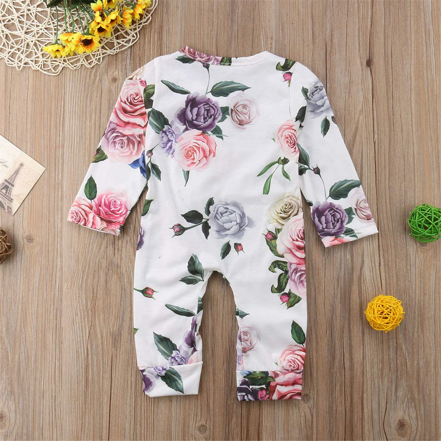 Newborn Infant Baby Girls Romper Long Sleeve Ruffles Single Breasted Floral Jumpsuits