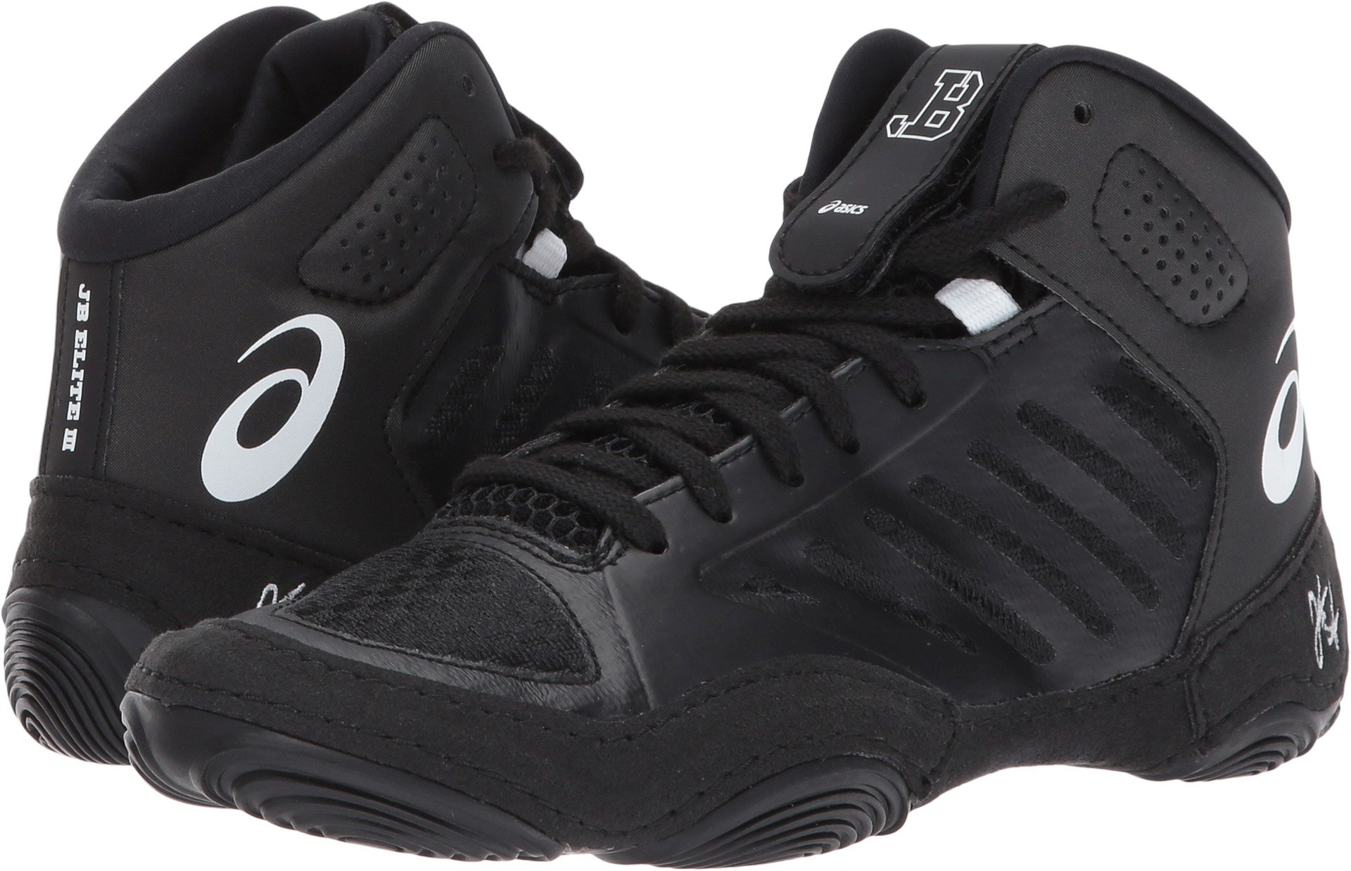 ASICS Unisex-Kids JB Elite III GS Wrestling Shoe, Black/White, 3 Medium US Big Kid