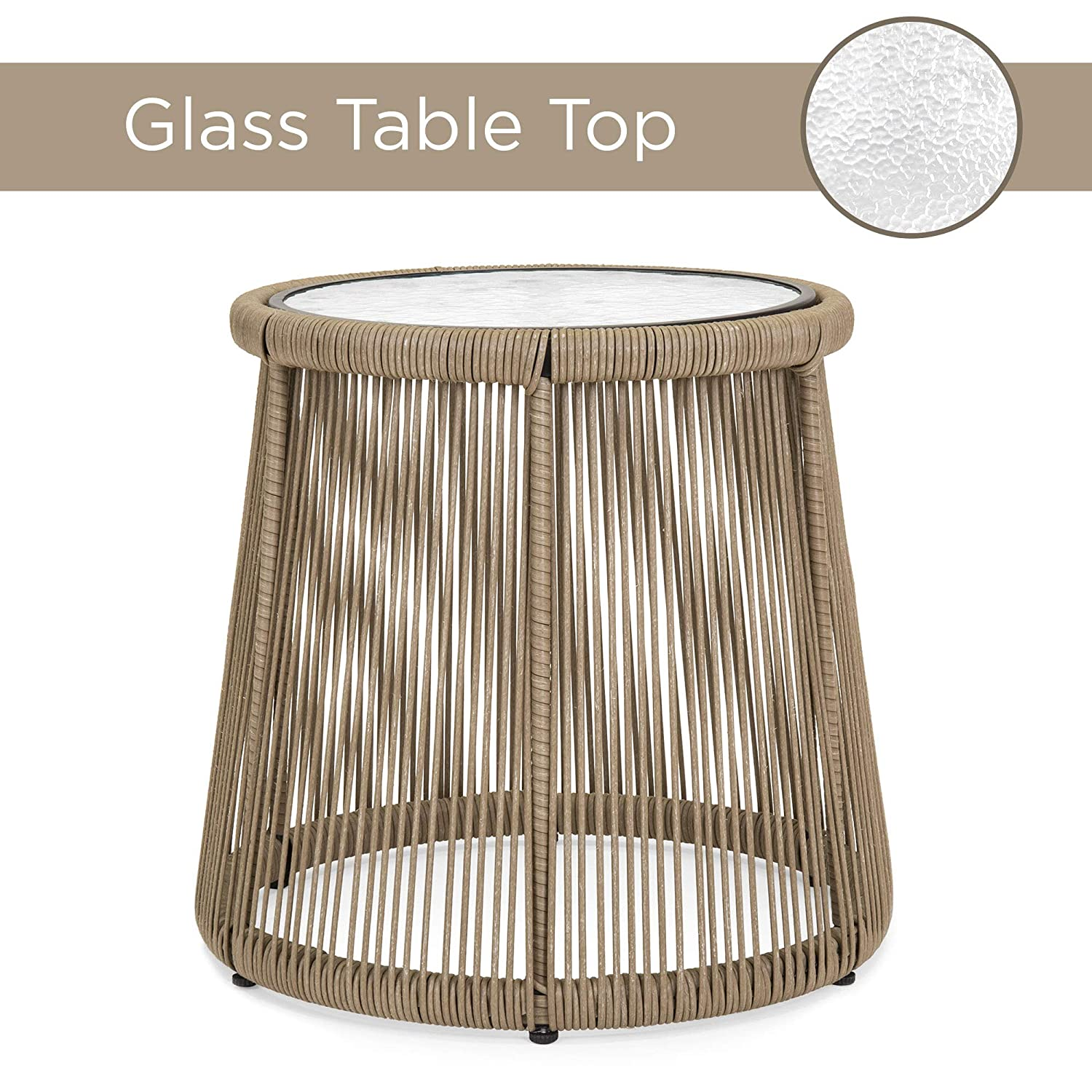 Glass Top Side Table Gray Weather-Resistant Seat /& Back Cushions Best Choice Products 3-Piece Outdoor All-Weather Wicker Conversation Bistro Furniture Set for Patio Backyard w// 2 Chairs Garden