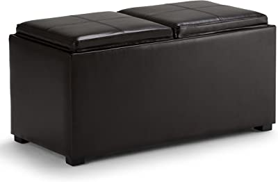 Simpli Home Avalon 3-Piece Rectangular Storage Ottoman w/ 2 Serving Trays & 2 Small Ottomans, PU Leather, Brown