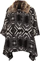 Women's Warm Faux Fur Collar Aztec 3 Button Baggy Shawl Poncho Jacket Cape