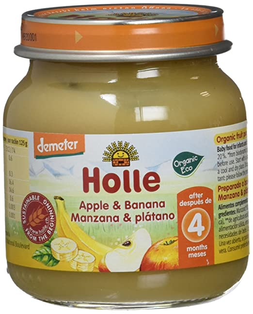 Holle Potito de Manzana y Plátano (+4 meses) - Paquete de 6 x