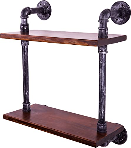 Best modern bookcase: Sansnow 2-Shelf Vintage Industrial Iron Pipe Shelf Rustic Bookshelf Bar Shelves