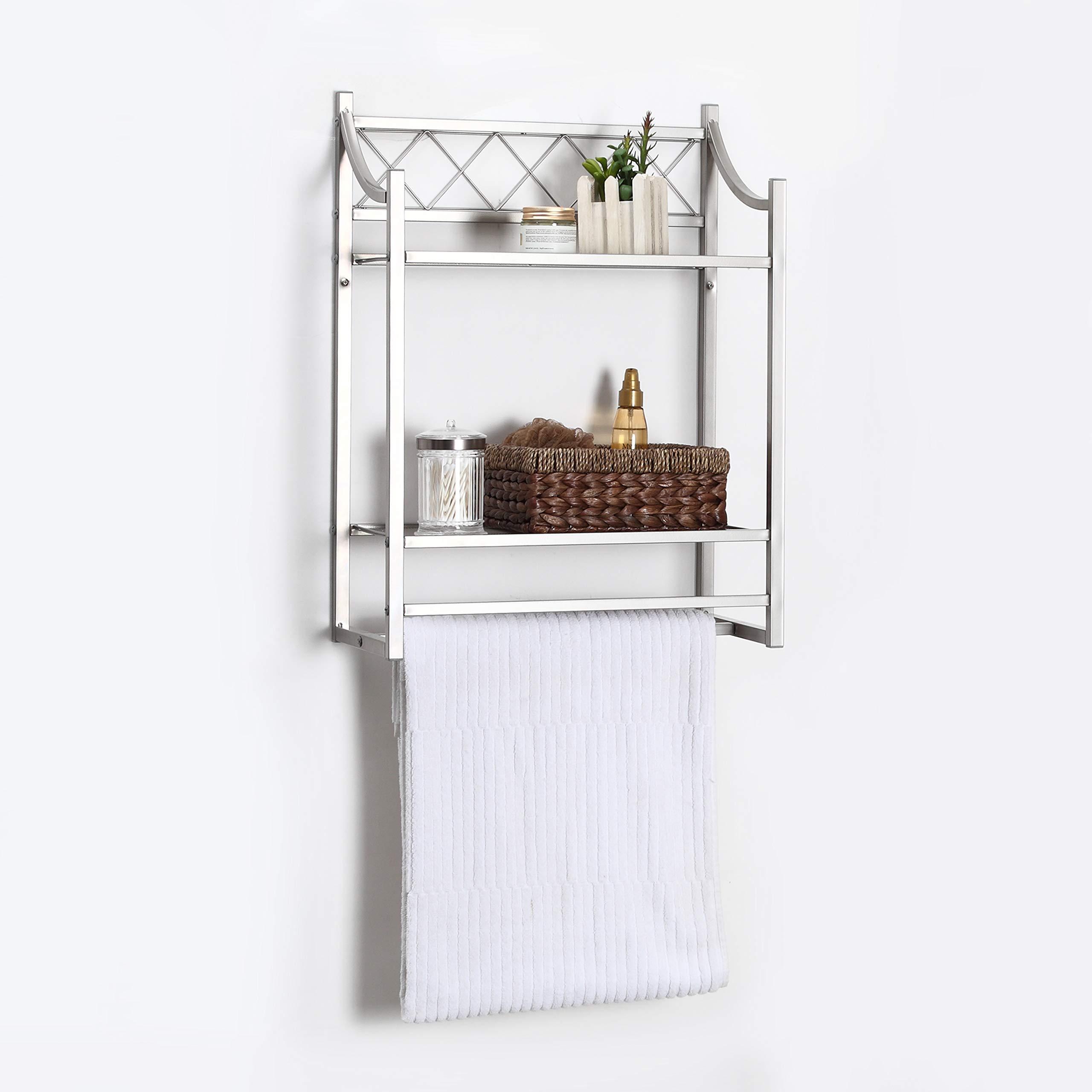 Home Zone 2 Tier Shelf Bathroom Wall Mount Organizer with Tower Bar, Mesh Shelving, Satin Nickel Finish
