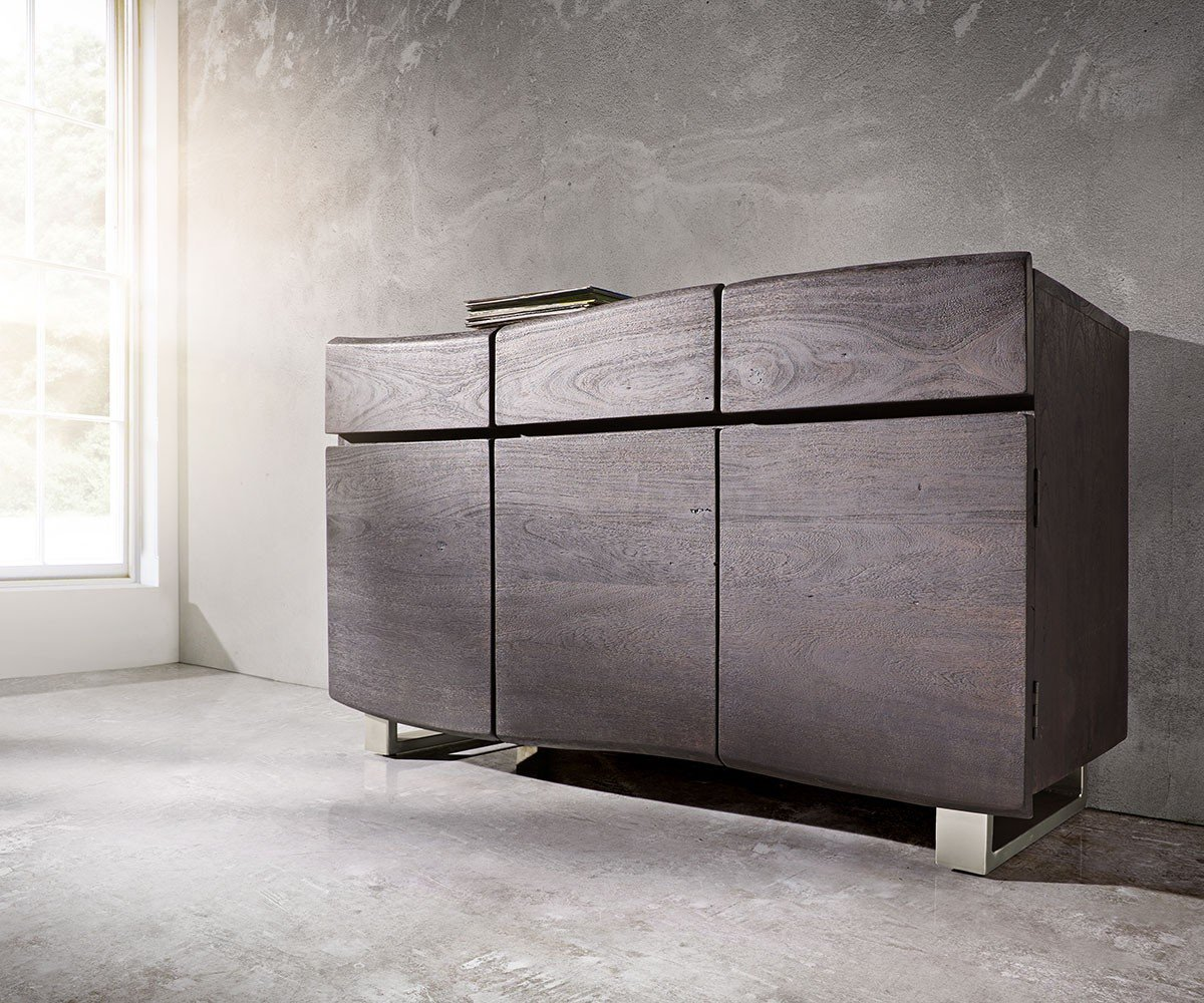kommode live edge akazie tabak 147x90 cm 3 t ren sideboard. Black Bedroom Furniture Sets. Home Design Ideas
