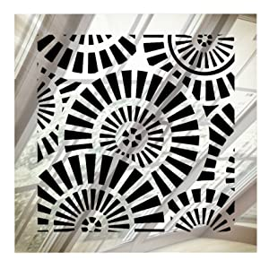 """SABA Vent Cover Air Register - Acrylic Fiberglass Grille 6"""" x 6"""" Duct Opening (8"""" x 8"""" Overall) Mirror Finish Decorative Register for Walls, Ceilings NOT Floor use, Waterwheel"""