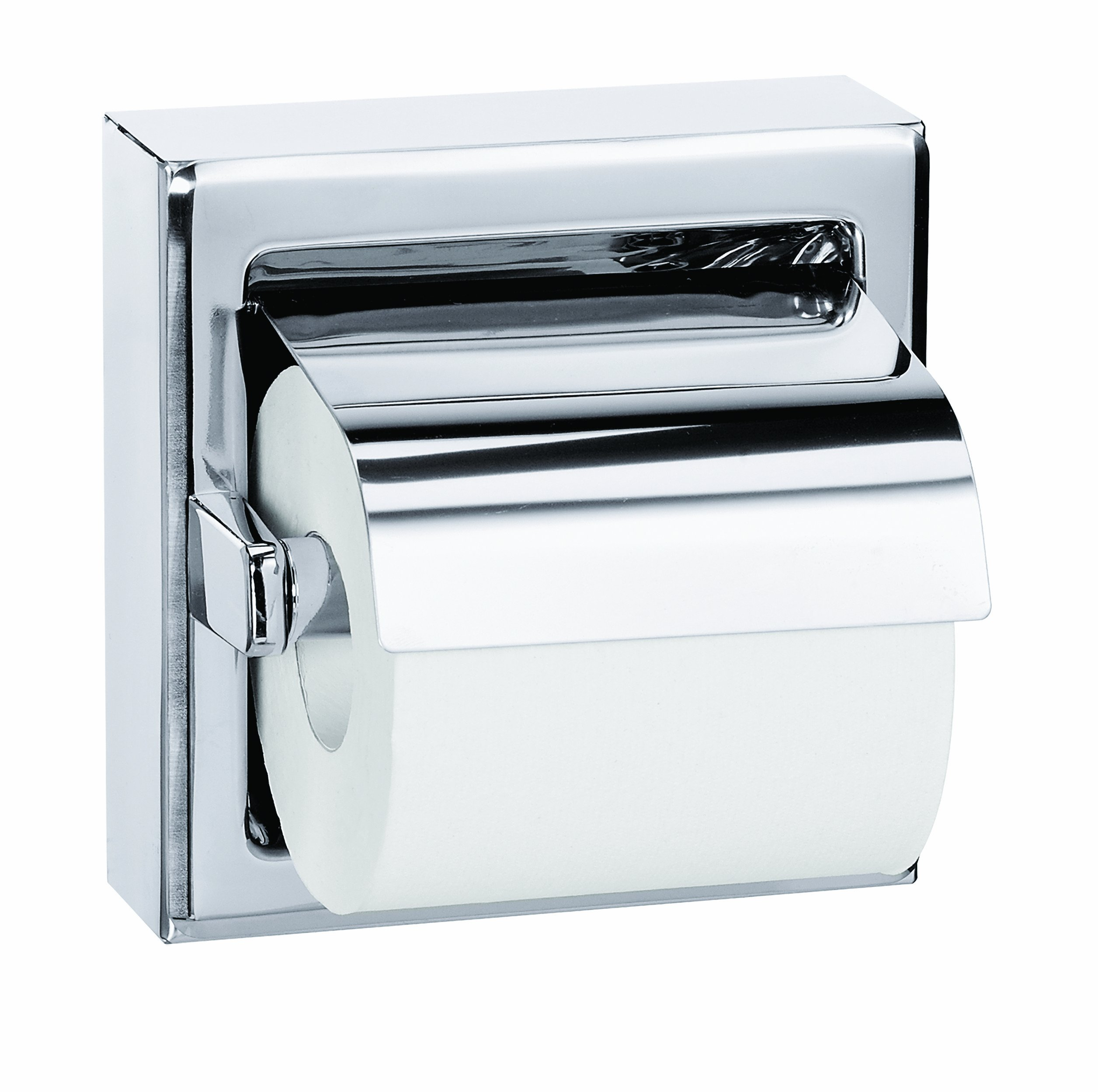 Bradley 5106-000000 Stainless Steel Surface Mounted Hinged Hood Single Roll Toilet Tissue Dispenser, 6-3/8'' Width x 6-3/8'' Height