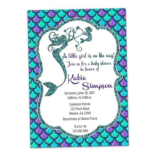 Amazoncom Aqua Purple Glitter Mermaid Baby Shower Invitations