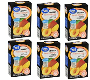 Great Value Sugar Free, Low Calorie ENERGY Peach Mango Drink Mix (Pack of 6)