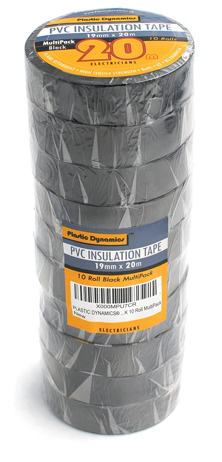 Plastic Dynamics® PVC Insulation Tape BS EN60454 BLACK 20m x10 Roll MultiPack Plastic Dynamics®