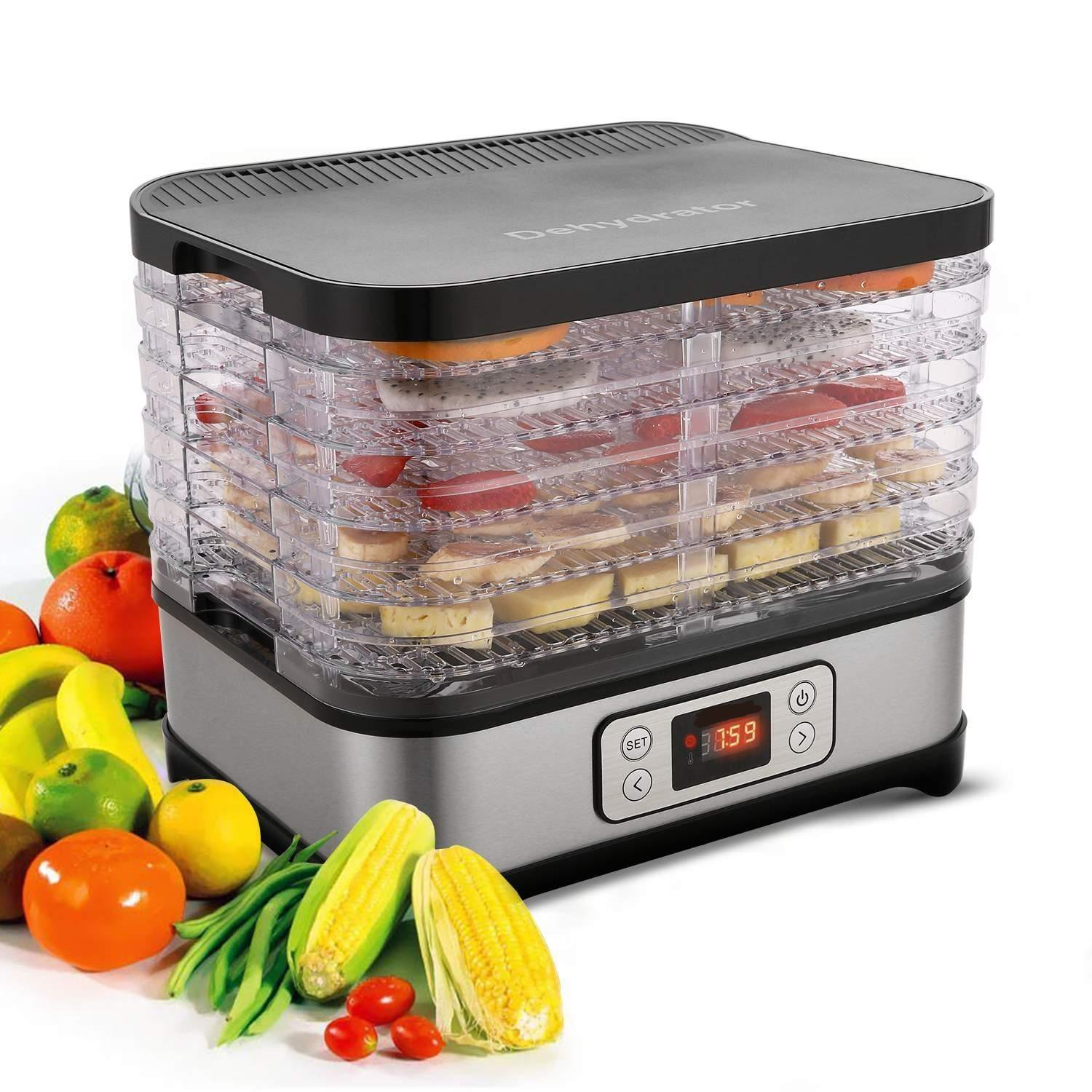 Professional Stainless Steel Food Dehydrator Machine with 5 Stackable Trays, Digital Temperature Settings for Meat or Beef Fruit Vegetable Dryer