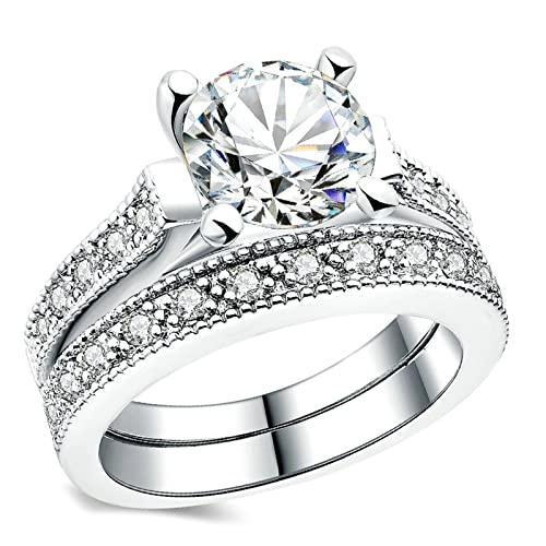 3b1c85166 Aokarry Wedding Ring,Silver Plated Fashion Cubic Zirconia Engagement Ring  Wedding Bands for Womens Size