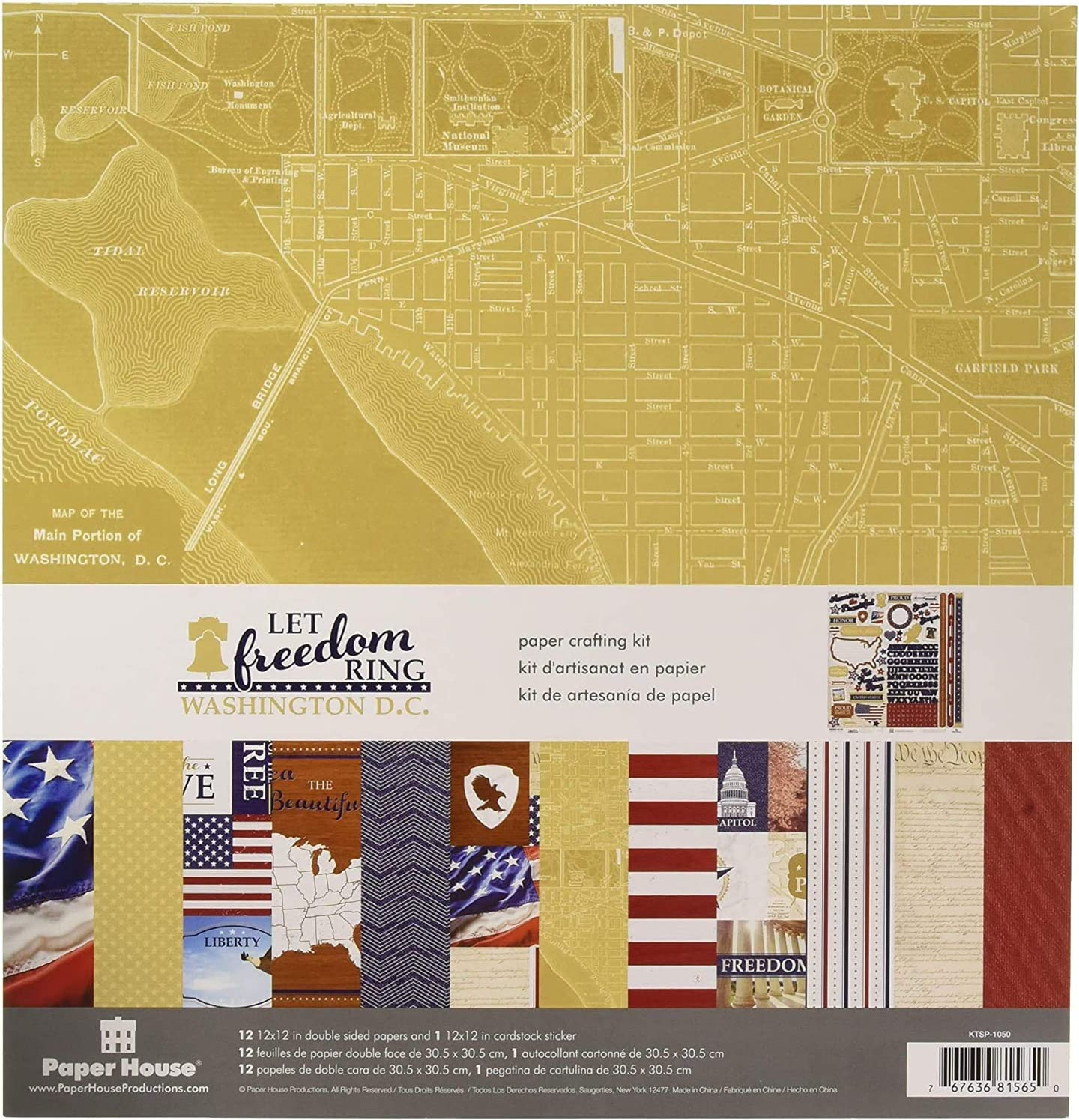 Paper House Productions KTSP-1050E Let Freedom Ring Washington DC Paper Crafting Kit, Pack of 3