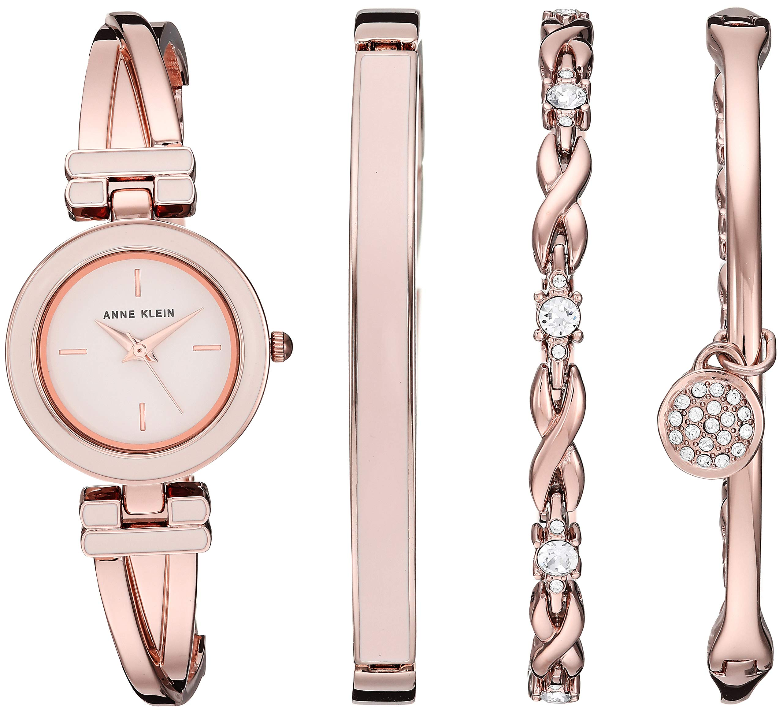 Anne Klein Women's AK/3284LPST Blush Pink and Rose Gold-Tone Bangle Watch and Swarovski Crystal Accented Bracelet Set