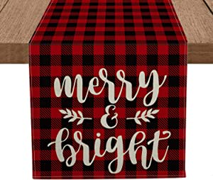 Artoid Mode Red and Black Buffalo Plaid Merry & Bright Table Runner, Seasonal Winter Christmas Holiday Tablecloth Kitchen Dining Table Linen for Indoor Outdoor Home Party Decor 13 x 72 Inch