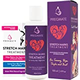 PREGMATE Stretch Marks Treatment Cream Natural Organic Ingredients Treat And Prevent Body Moisturizer With Peptides Vitamin C B E Hyaluronic Acid Best For Pregnancy 4 Oz.