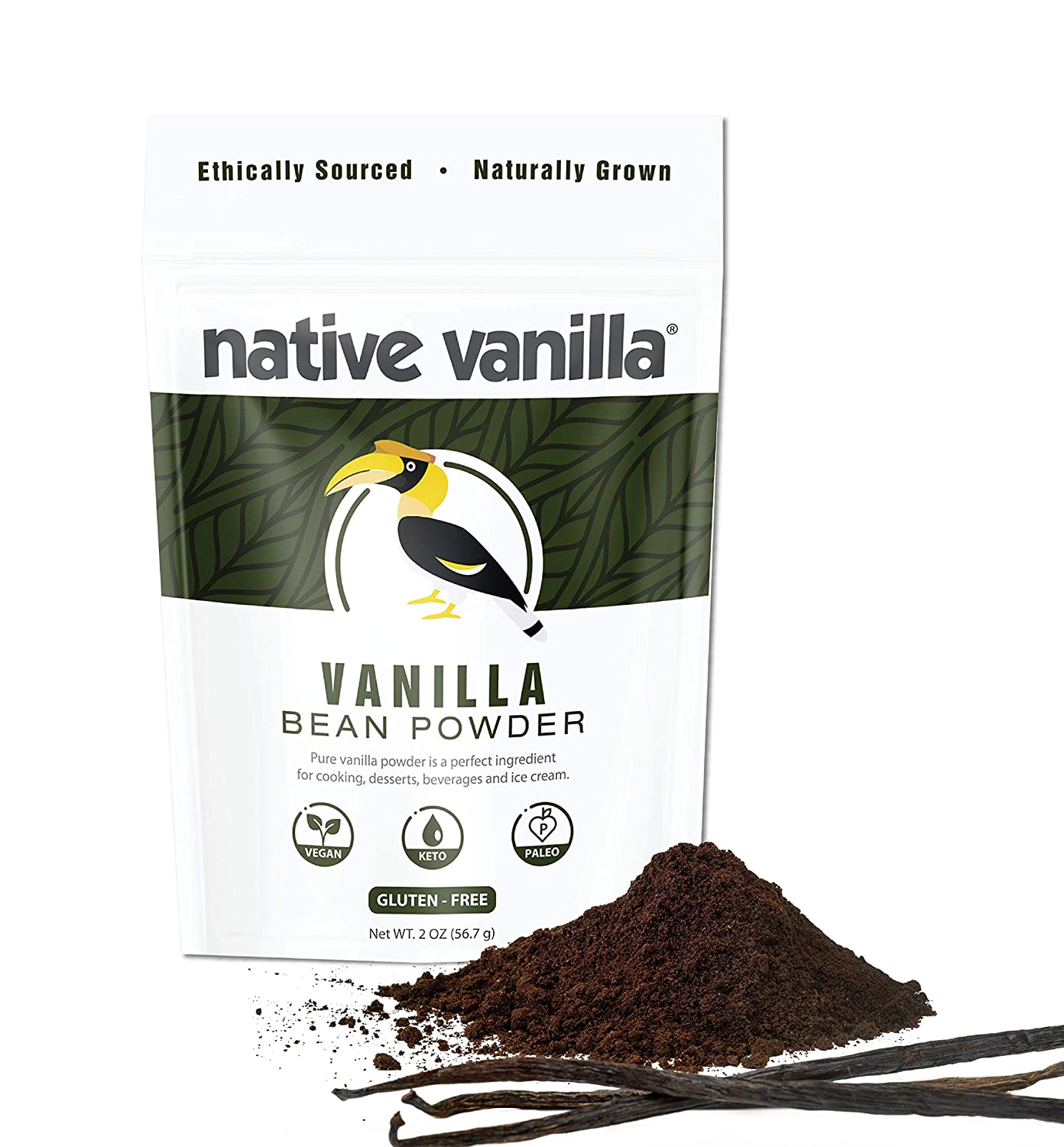 Native Vanilla Powder – Premium Gourmet 100% Pure Ground Vanilla Bean Powder – For Chefs and Homemade Baking, Ice Cream, Coffee – Keto Friendly (2 oz)