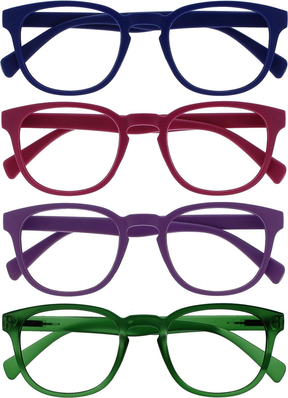 Opulize Pop Pack 4 Retro Redondo Azul Rosa Púrpura Verde Hombres Mujeres Gafas De Lectura Bisagras Resorte RRRR2-3456 +1,50