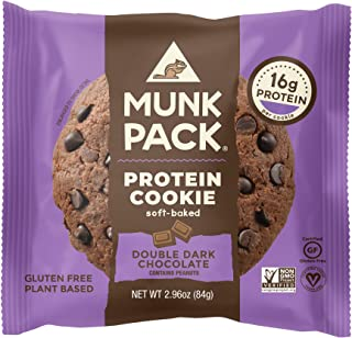 product image for Munk Pack Vegan Protein Cookie | Double Dark Chocolate | 2.96 Ounce | Soft Baked, Gluten, Soy and Dairy Free with 18 Grams of Protein | One Cookie | Pack of 1