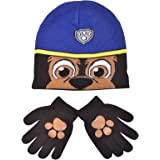 Boys Paw Patrol Chase Childrens Winter Beanie Hat & Gloves Official Set