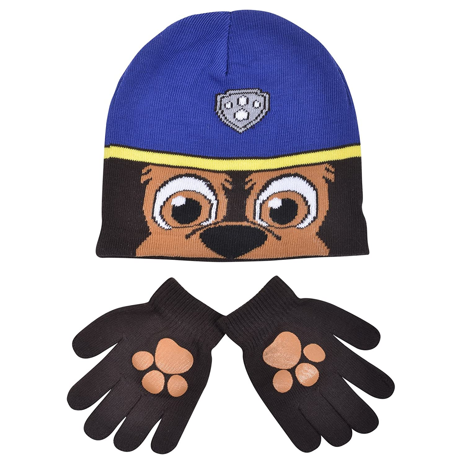 Boys Paw Patrol Chase Childrens Winter Beanie Hat & Gloves Official Set 54798