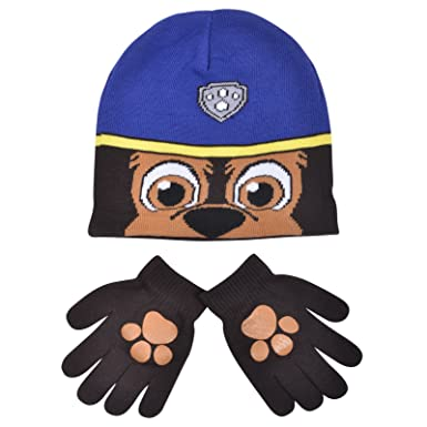 5ee26fb9530 Image Unavailable. Image not available for. Colour  Boys Paw Patrol Chase  Childrens Winter Beanie Hat   Gloves Official Set