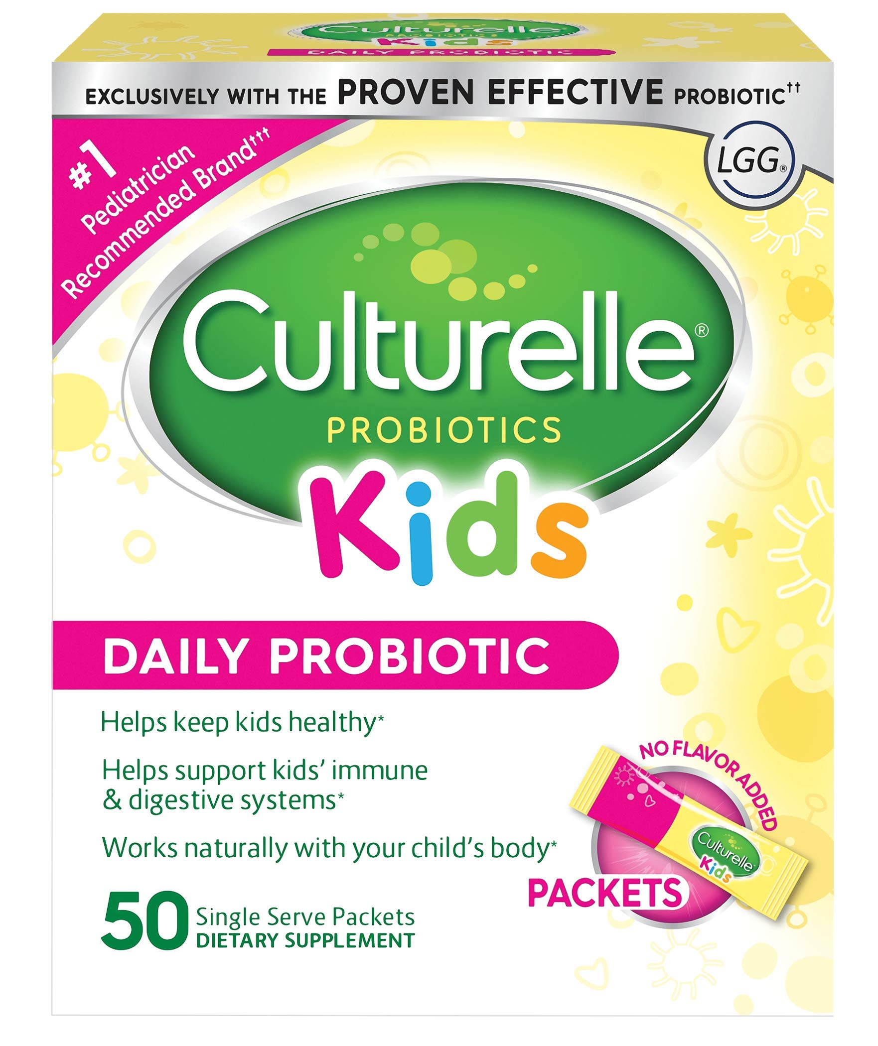 Culturelle Kids Daily Probiotic Packets Dietary Supplement | Helps Support a Healthy Immune & Digestive System | Works Naturally with Your Child's Body | 50 Single Packets by Culturelle