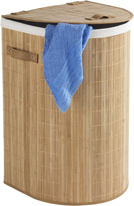 79 L Bamb/ú 35 x 60 x 39 cm cesto para la Ropa Marr/ón Wenko 62015100 Cesto pongotodo Bambooleo semicircular
