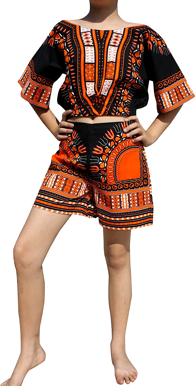 RaanPahMuang African Dashiki Two Pieces Preteen Belle Shirt and Shorts Set