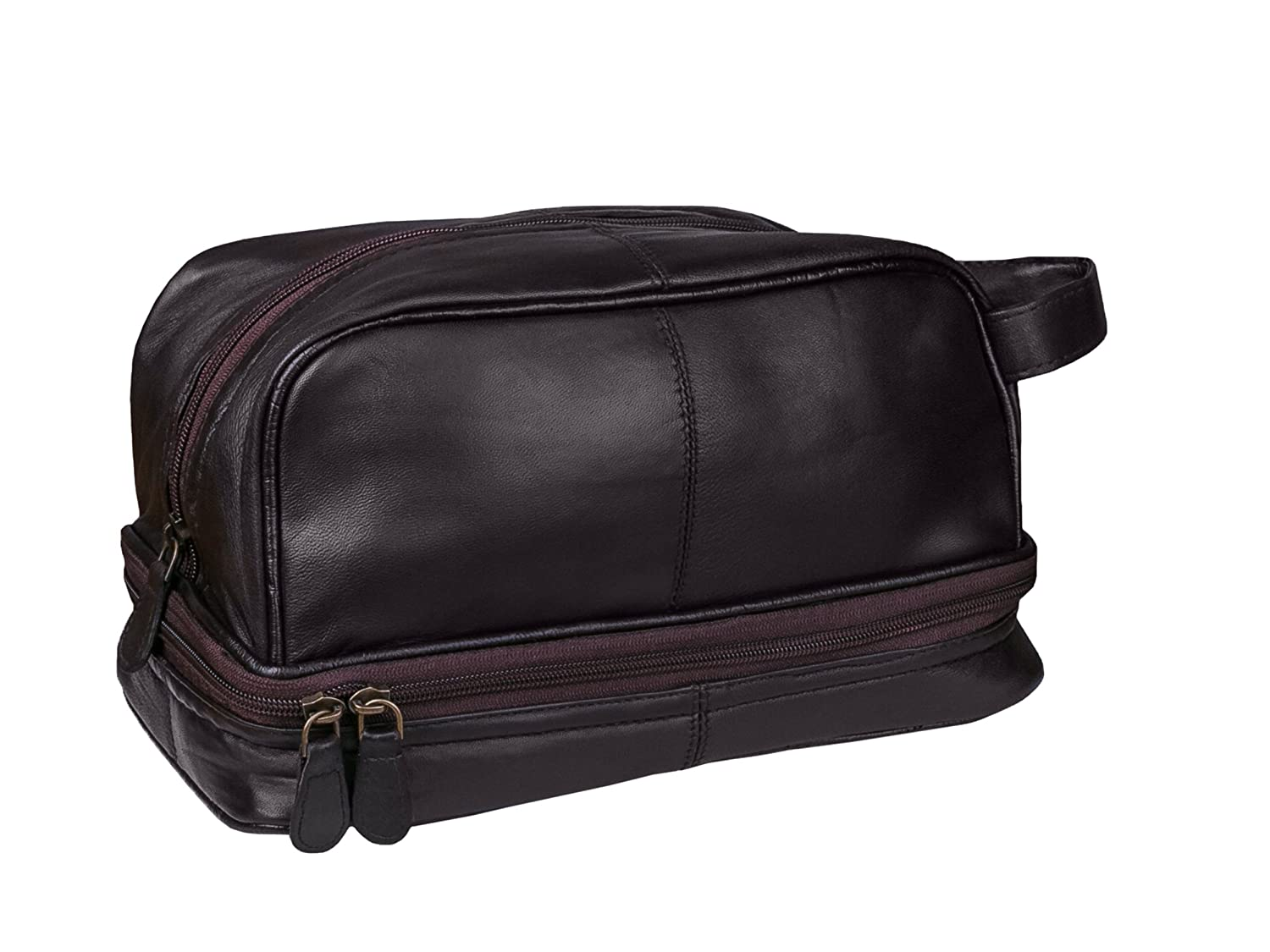 Popular Amazon.com : Dwellbee Classic Leather Toiletry Bag and Dopp Kit  IY56