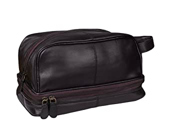 0cf1599b86 Amazon.com   Classic Leather Toiletry Bag and Dopp Kit - Mens Travel and Shave  Kit (French Morocco Leather