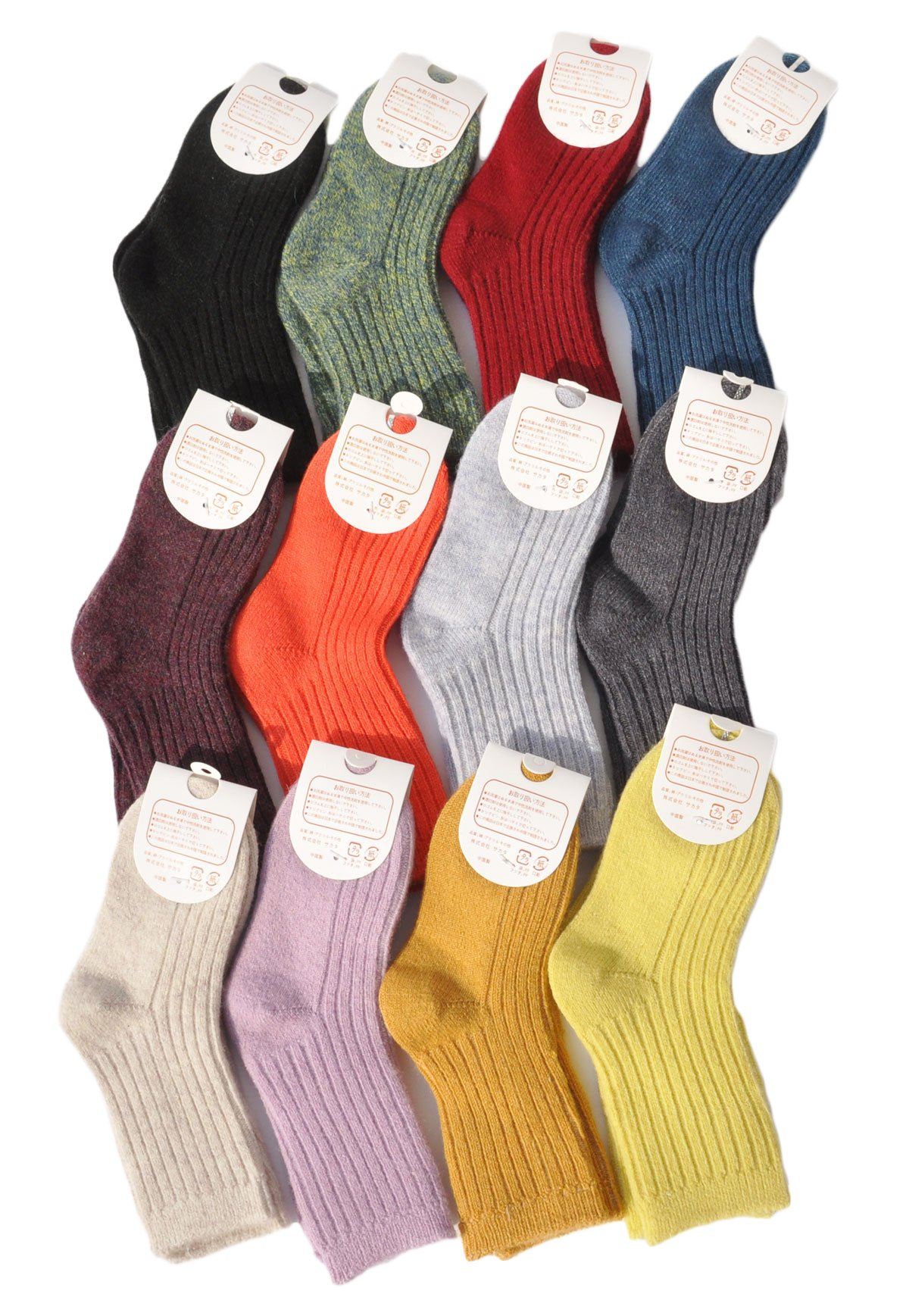 Lian LifeStyle Girl's 10 Pairs Pack Cashmere Wool Crew Socks Solid Size 22-25CM/10Y and Up by Lian LifeStyle