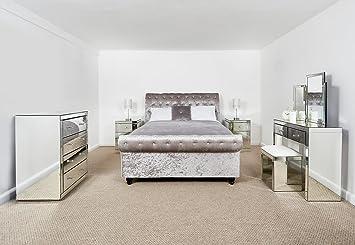 Schlafzimmer Möbel 2 Konsole Mit Hocker U0026 2 X 3 Schubladen Verspiegelt  Nachttische U0026 Kommode Mit