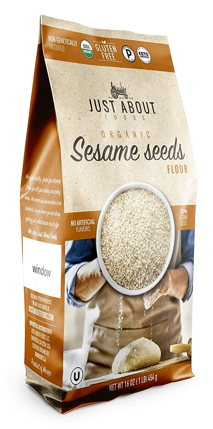 Just About Foods Organic Sesame Seeds Flour 1 Pound No Artifical Flavors Paleo, Keto, Kosher Gluten Free High Fat, Low Carb Pack of 1