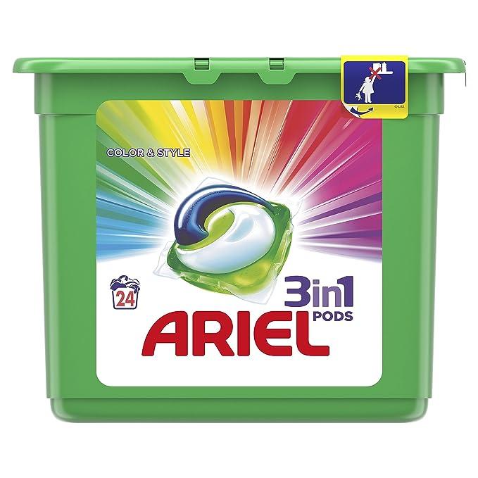 Ariel 3en1 Pods Detergente En Cápsulas, Colour & Style, Limpieza Increíble, Limpia, Quita Manchas, Ilumina - 24 Lavados: Amazon.es: Amazon Pantry