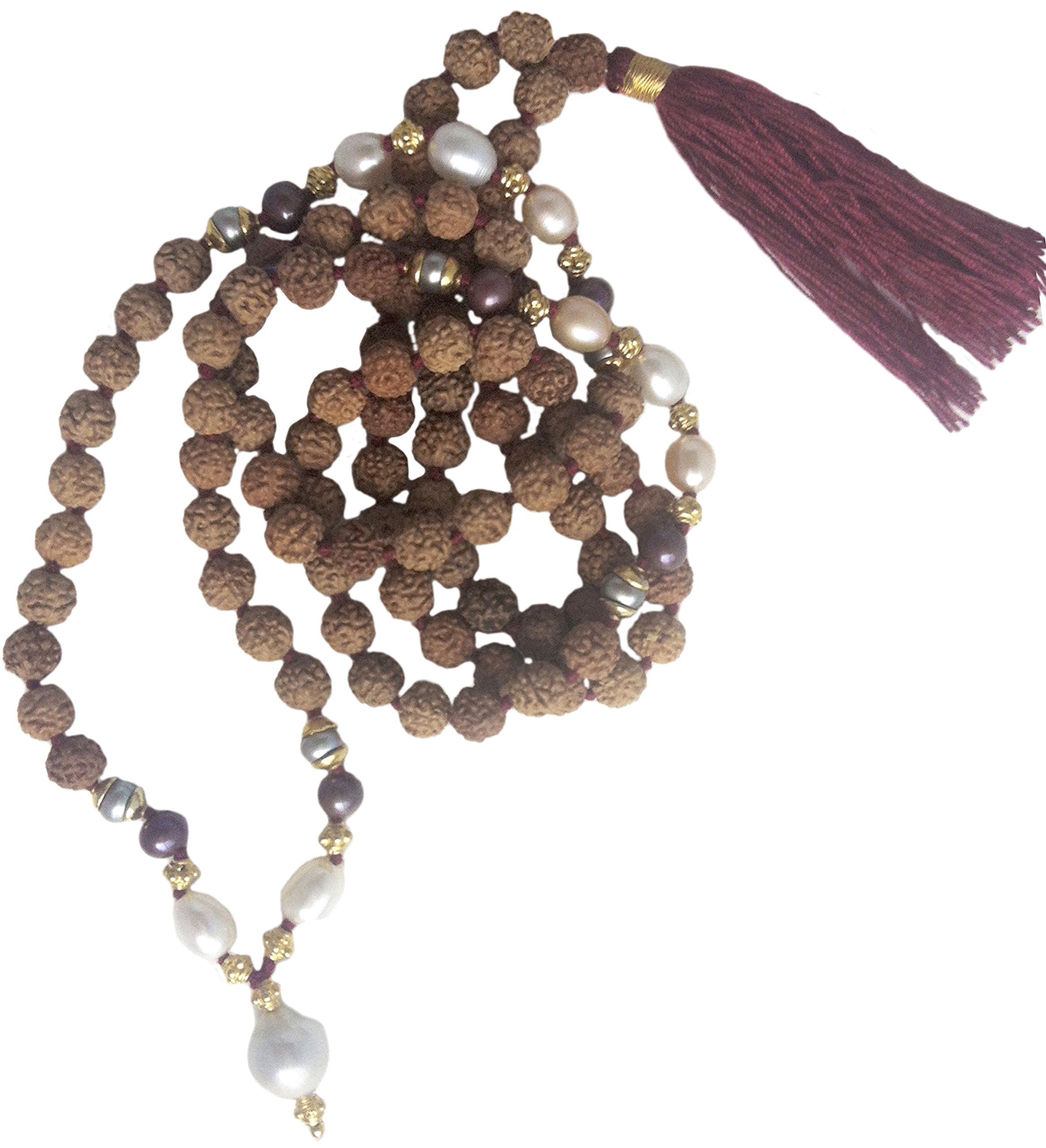 Divine Mother 108 Bead Rudraksha Mala with Black & White Pearl,Gold Plate Accents