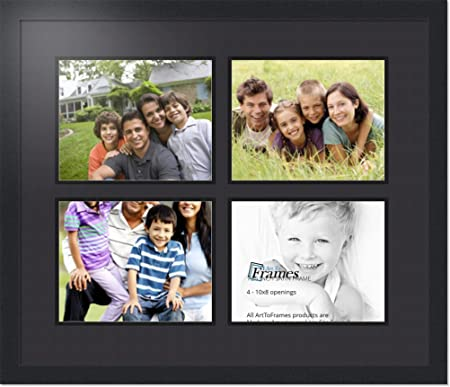 ArtToFrames Collage Photo Frame Double Mat with 4-12x16 Openings and Satin Black Frame