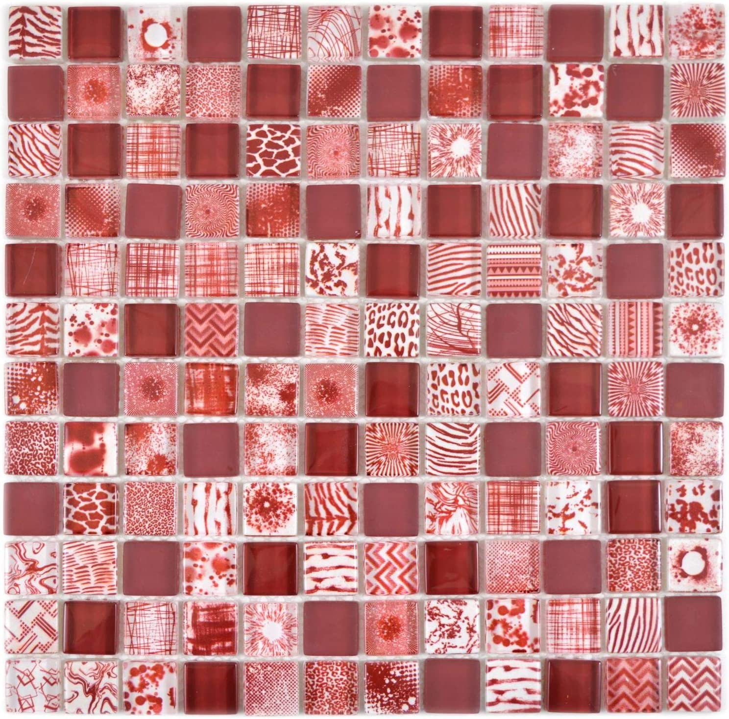 Mosaik Fliese Glasmosaik Quadrat Crystal mix rot f/ür WAND K/ÜCHE Fliesenspiegel Thekenverkleidung Wandverblender