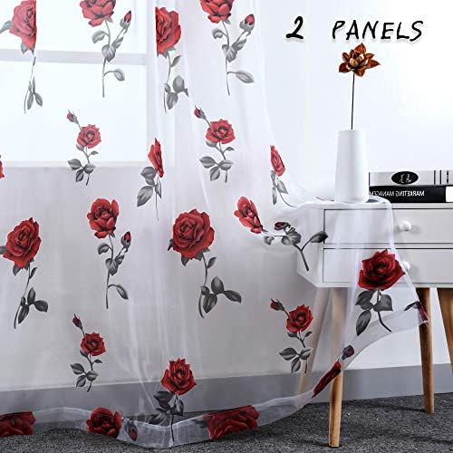 HUTO Rod Pocket Sheer Curtains for Living Room 84 Inches Long Red Rose Curtain Panels Sheer Drapes for Girl Bedroom 2 Panels