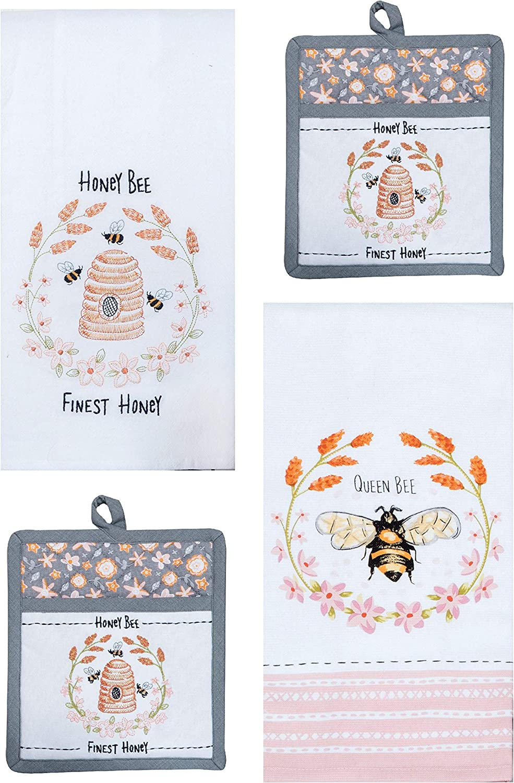 Kay Dee 4 Piece Honey Bee Pink and Gray Kitchen Towels Potholders Bundle