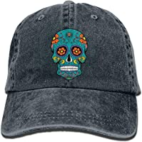 QHZM Sugar Skull Vintage Jeans Baseball Cap Outdoor Sports Hat for Men and Women (Navy)