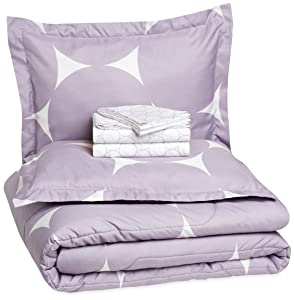 AmazonBasics 7-Piece Bed-In-A-Bag - Full/Queen, Purple Mod Dot