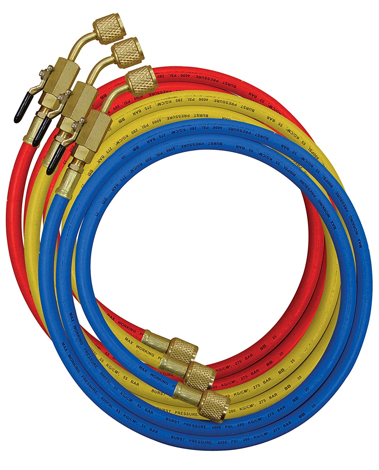 MASTERCOOL 90262-36 set of 3x90cm Standard & High Pressure Hose w/Manual Shut-Off Valve fittings (1/4 SAE)