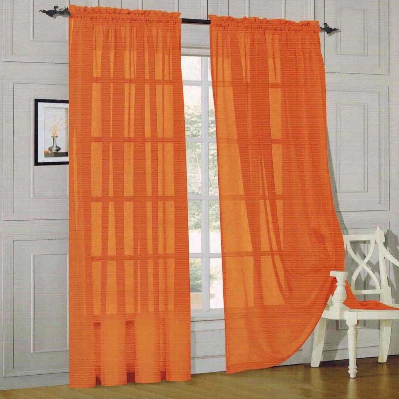 Amazon Elegant Comfort 2 Piece Solid Sheer 60 X 84 Window Curtains Drape Panels Treatment Orange Home Kitchen